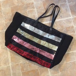 Victoria's Secret sequin tote 15 by 12 by 8 inches